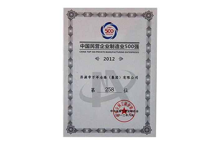 2012年度民营企业制造业500强