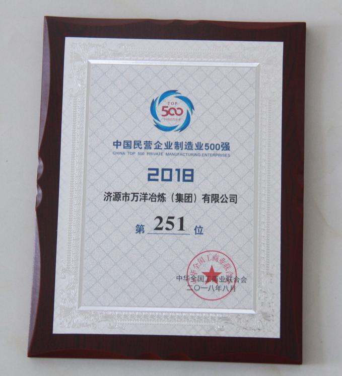2018年度全国民营企业制造业500强